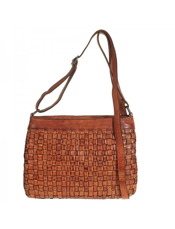 Crossbody sling bag in woven leather
