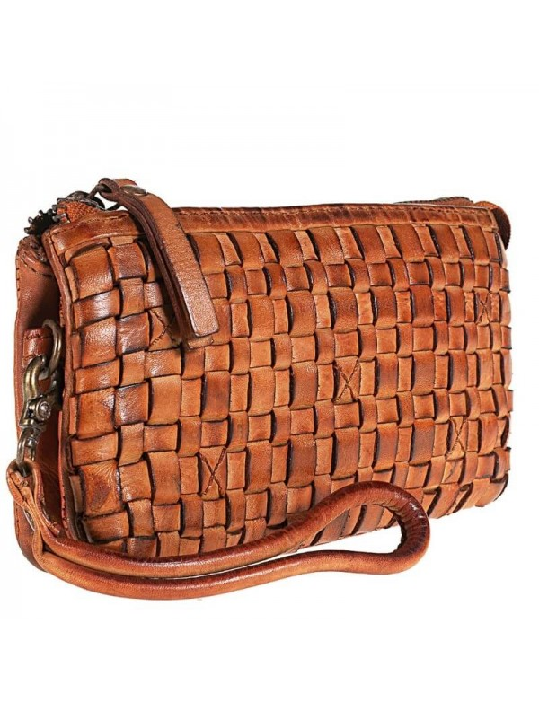 Made in Italy clutch bag, leather hand woven