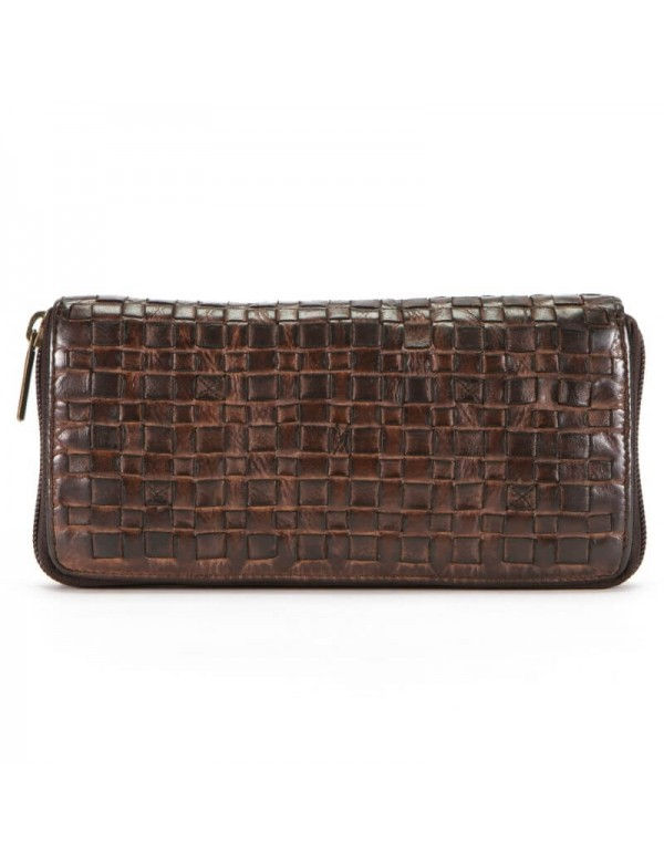 Woven leather wallet with zipper