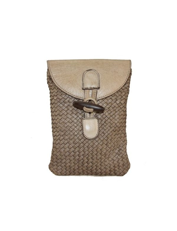 Crossbody leather bag in mini size, made in Italy