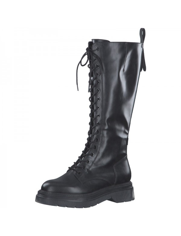 Women's tall combat boots, black leather