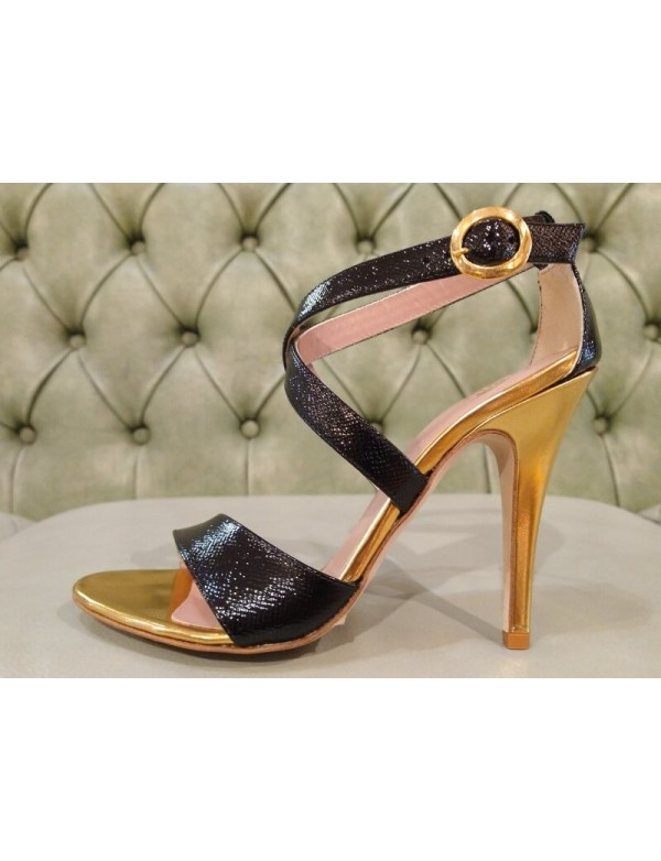 High heel sandals, gold and black