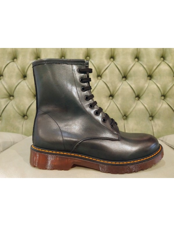 Women green leather boots