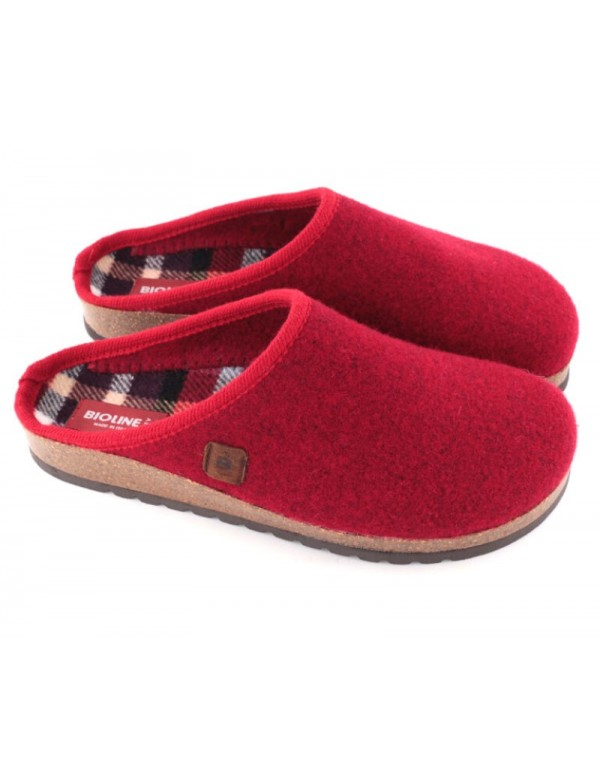 Italian wool clog slippers for women, red colour