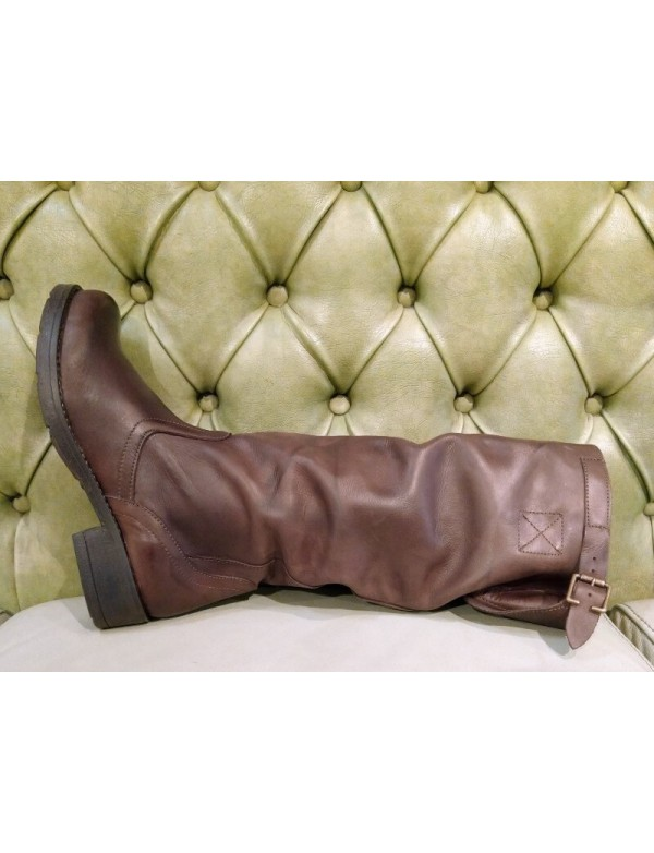 Brown leather slouch boots, made in Italy