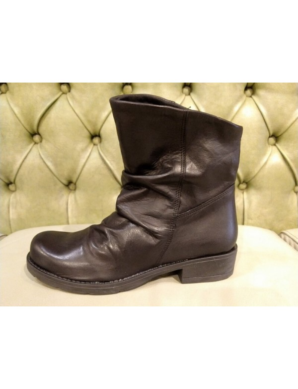 Black leather slip on ankle boots