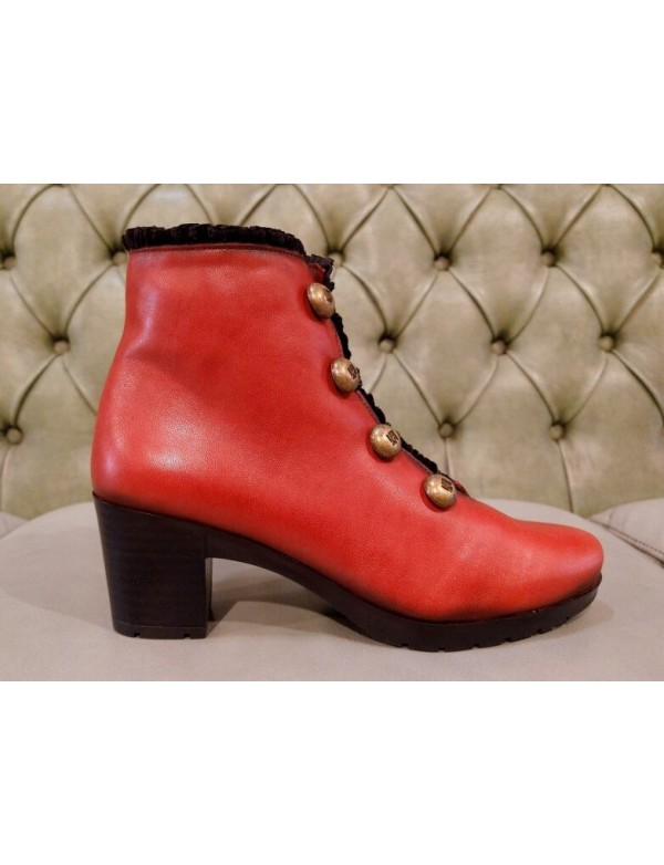 Red leather booties