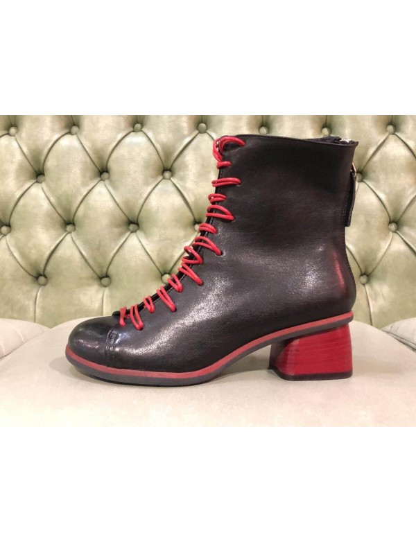 Black ankle boots with red heel, made in Italy