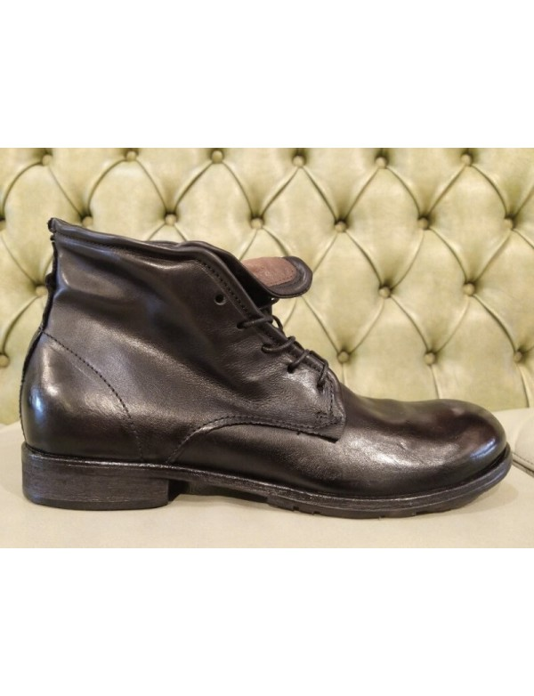 Mens black leather boots fashion, by Italian brand AS 98