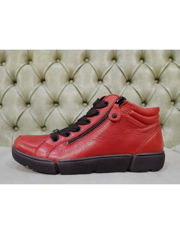 Red sneakers for women, genuine leather