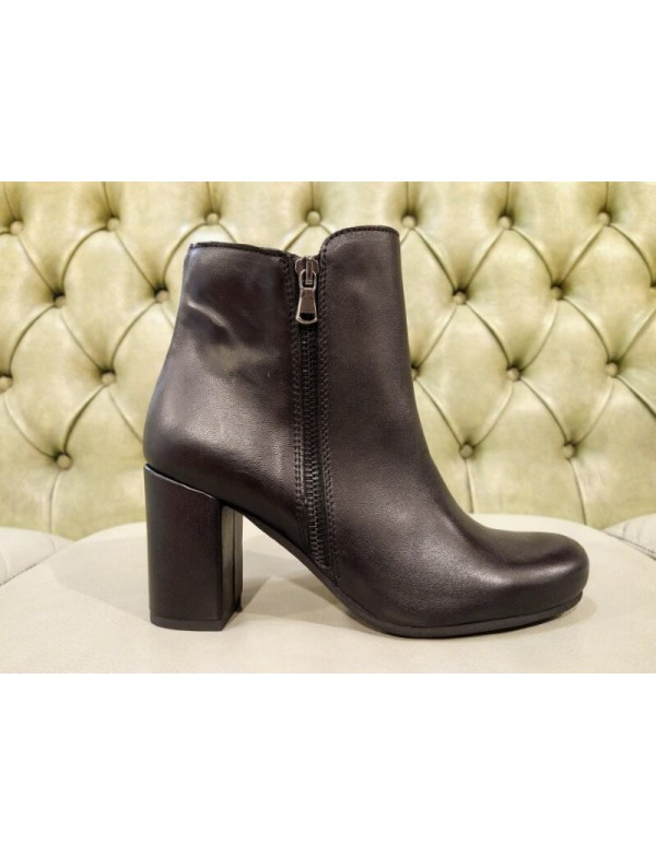 Black leather booties with heel