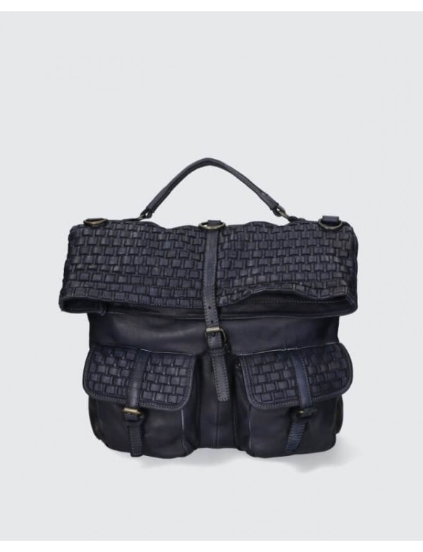 Vintage backpack with woven leather, made in Italy