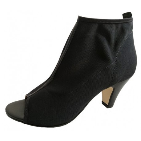 Black peep toe booties, Italian shoes by Carmens