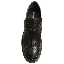 Black leather studded shoes, by Progetto
