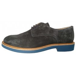 Italian blue suede derby shoes for men