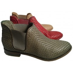 Woven leather ankle boots, by Cavallini