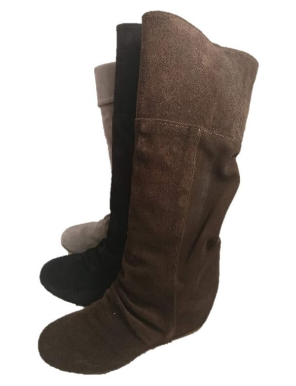 Suede slouch boots with wedge, made in Italy