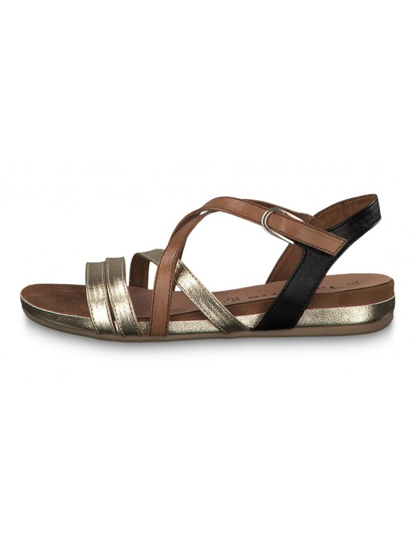 Low gold sandals, Tamaris