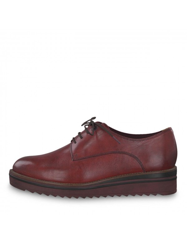 Red leather lace ups for ladies, Tamaris