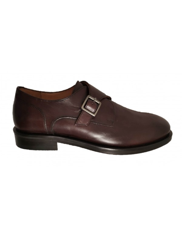 Brown buckle monk shoes, made in Italy