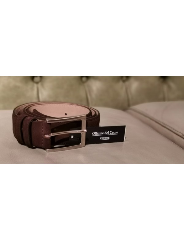 Classic dark brown leather belt for men, Florentine leather