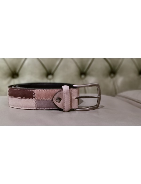 Cintura in pelle patchwork marrone e grigio